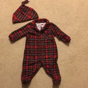 Plaid baby onesie